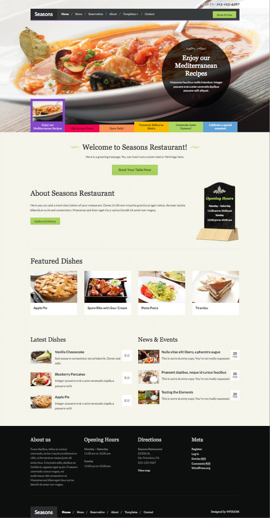 Seasons Responsive WordPress Food Recipe Theme