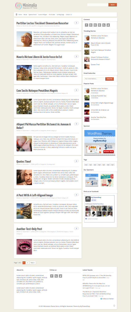 Minimalia WordPress Blogging Theme