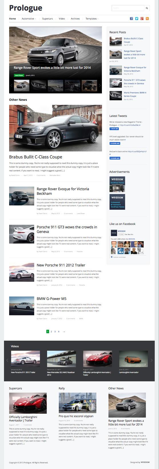 Prologue WordPress Bold Magazine Theme