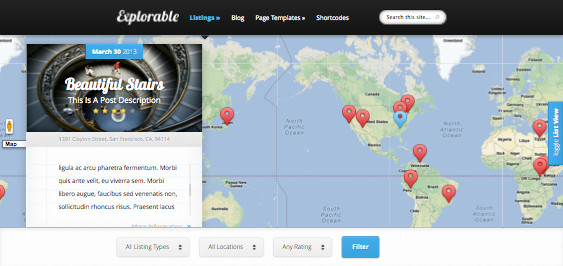 Explorable WordPress Location Based Theme