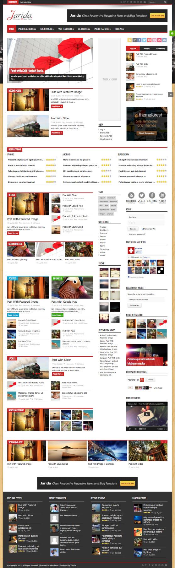 Jarida Responsive WordPress Magazine Theme