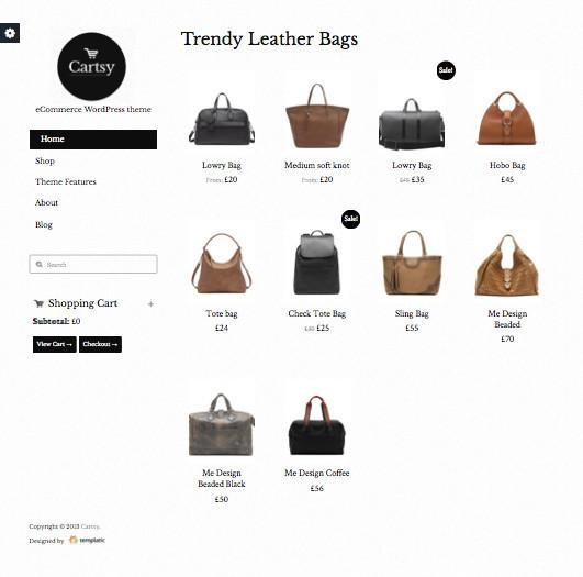 Cartsy WordPress Stylish e-Commerce Theme