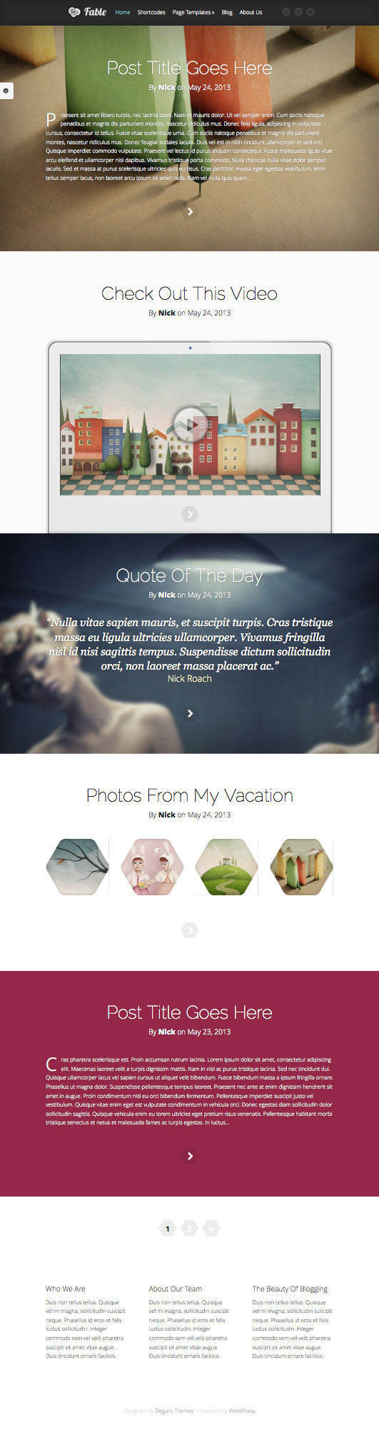 Fable WordPress Full-Screen Blog Theme