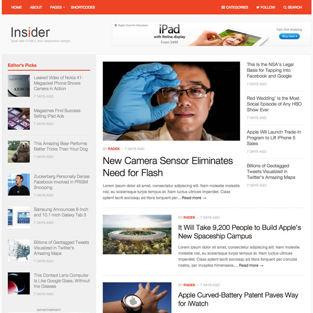 Insider Modern Magazine WordPress Theme
