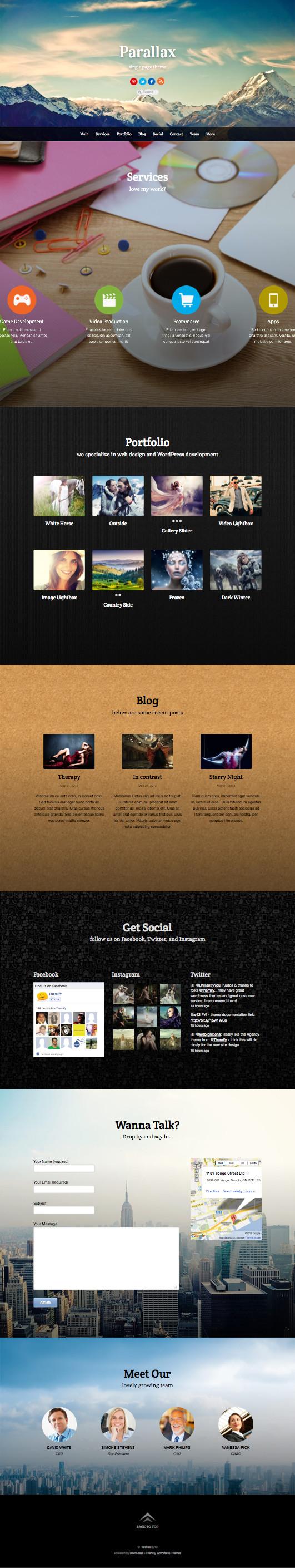 Parallax WordPress Single Page Scrolling Theme