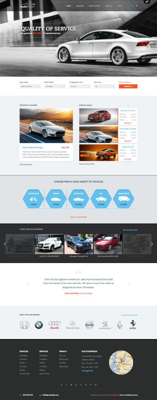 AutoTrader Responsive WordPress Auto Motor Theme