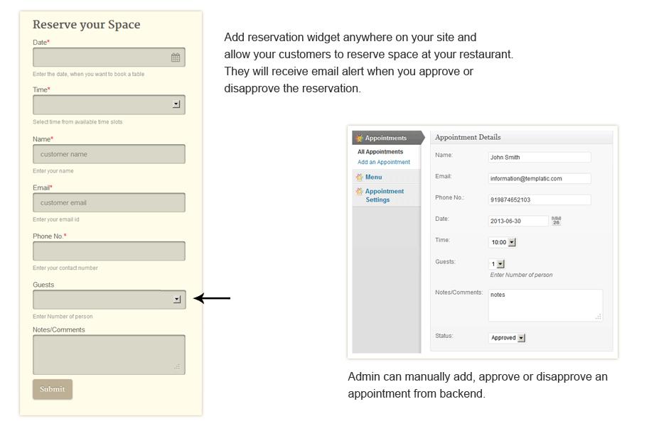 Restaurante Responsive WordPress Booking Form Theme