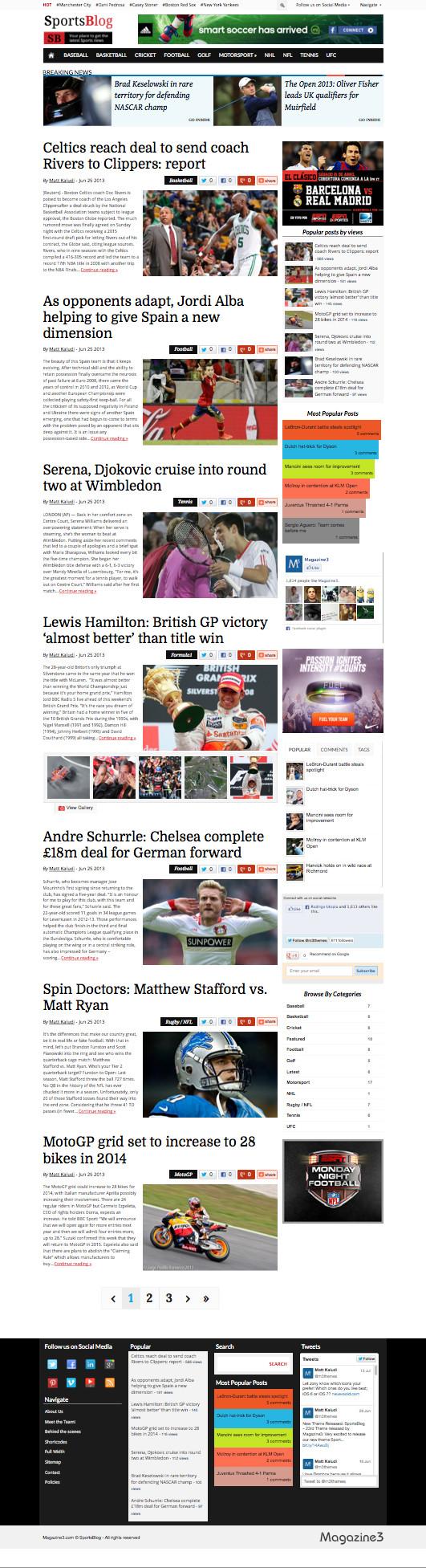 SportsBlog WordPress Sports News Blog Themem