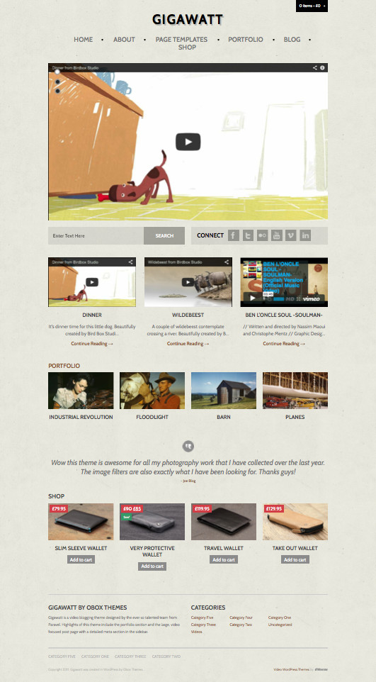 Gigawatt 2.0 Vintage Style WordPress Theme