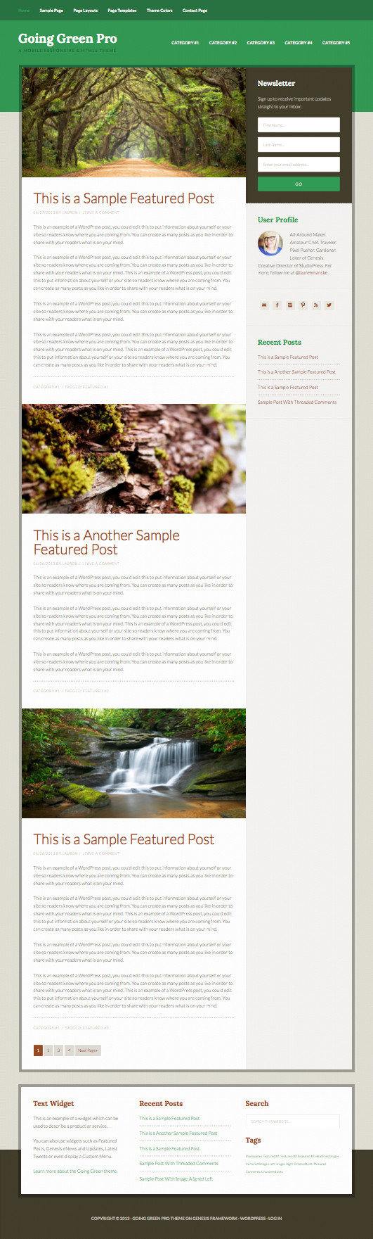 Going Green Pro WordPress HTML5 Markup Theme