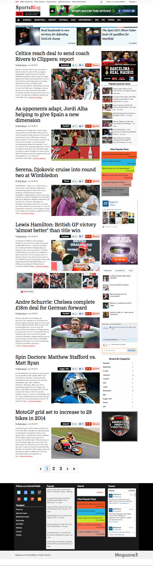 SportsBlog WordPress Sports News Blog Themem