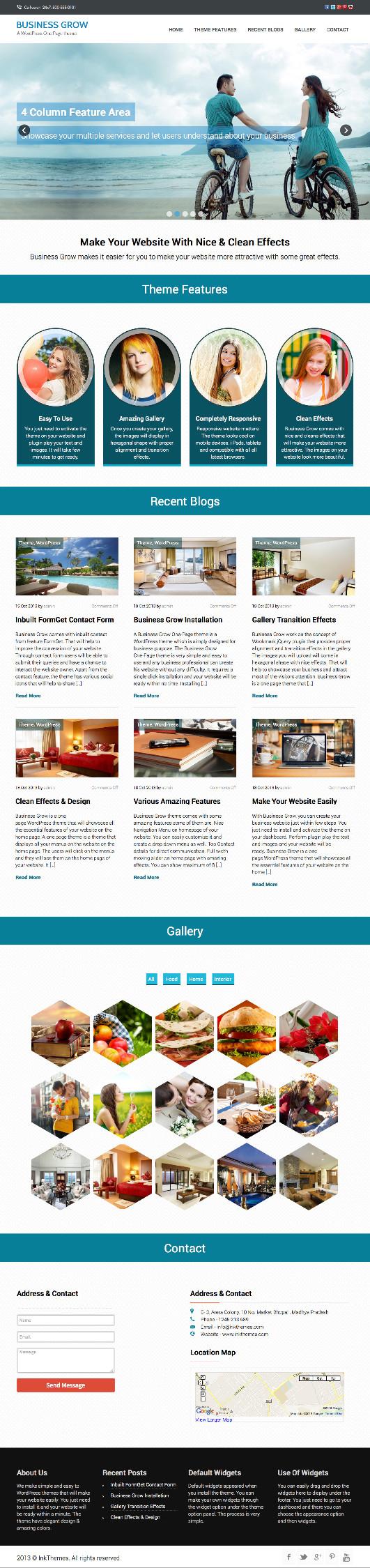 Business Grow WordPress Single Page Theme