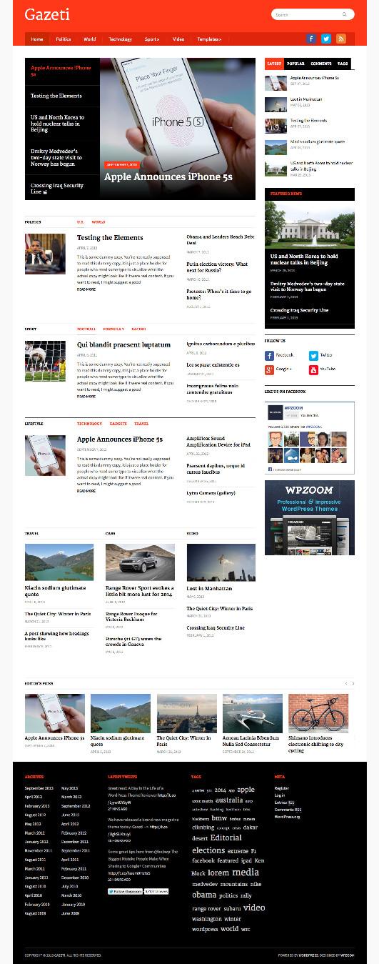 Gazeti WordPress Magazine Theme