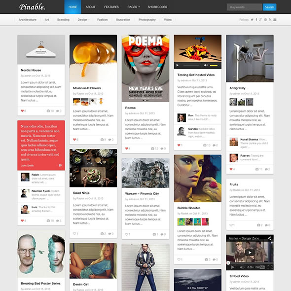 Pinable WordPress Behance.net Theme