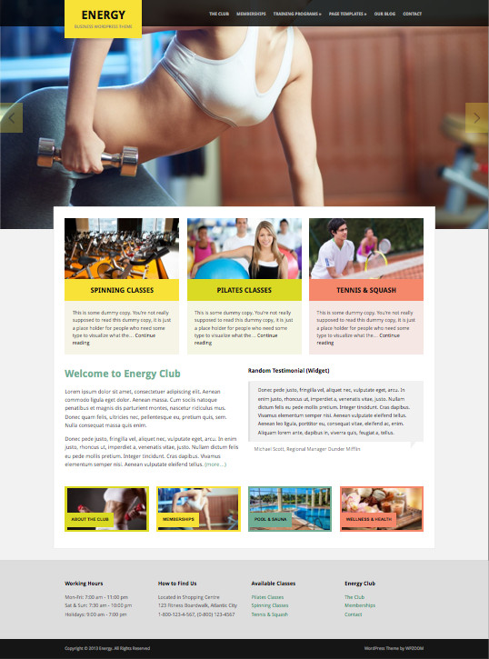 Energy WordPress Sport Tanning Classes Theme