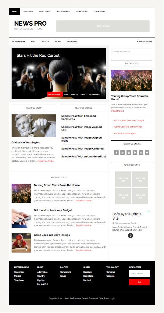 News Pro WordPress HTML5 Markup Theme