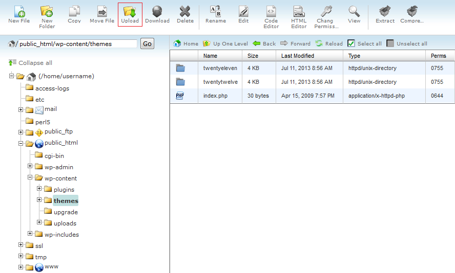 WP Theme install Using cPanel File Manager