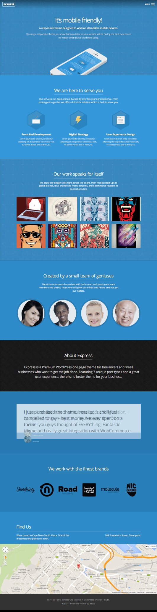 Express WordPress One Page Freelancer Theme