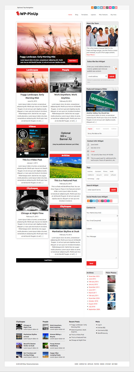 WP PinUp Pinterest Like Theme