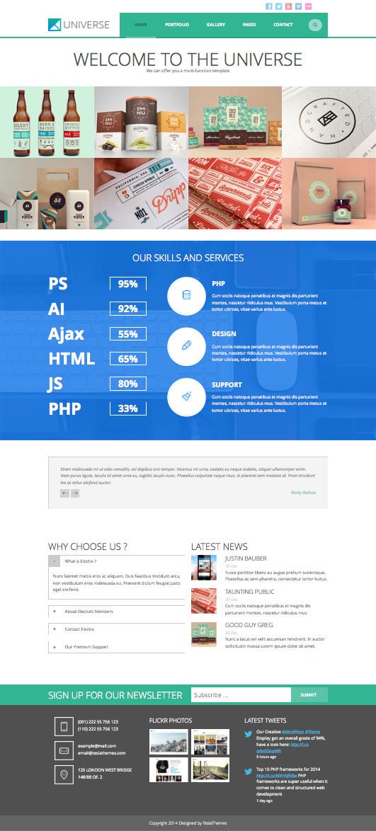 Universe WordPress Portfolio Showcase Theme
