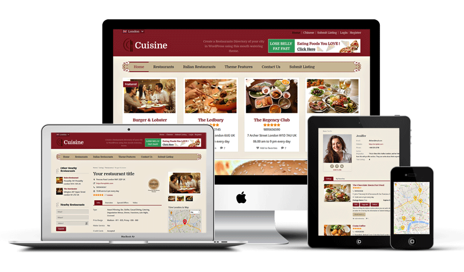 Cuisine – Local Restaurants Directory Theme with Ratings