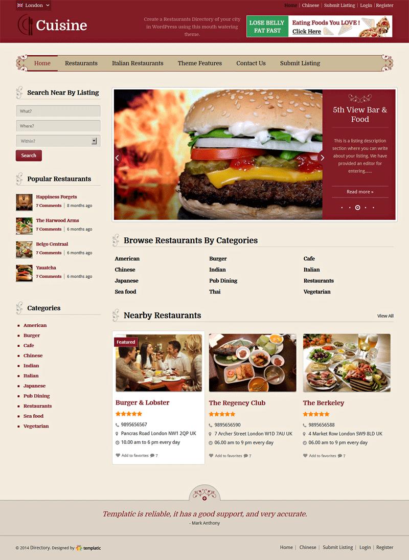 Cuisine restaurants directory homepage