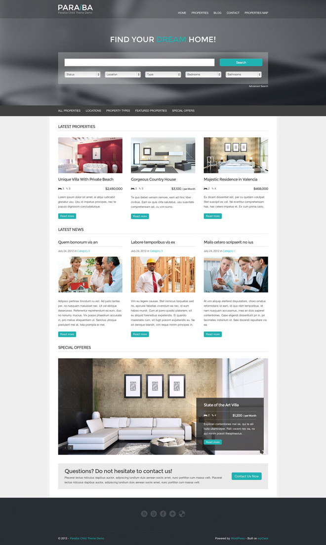 Paraiba - Property Search & Real Estate Theme