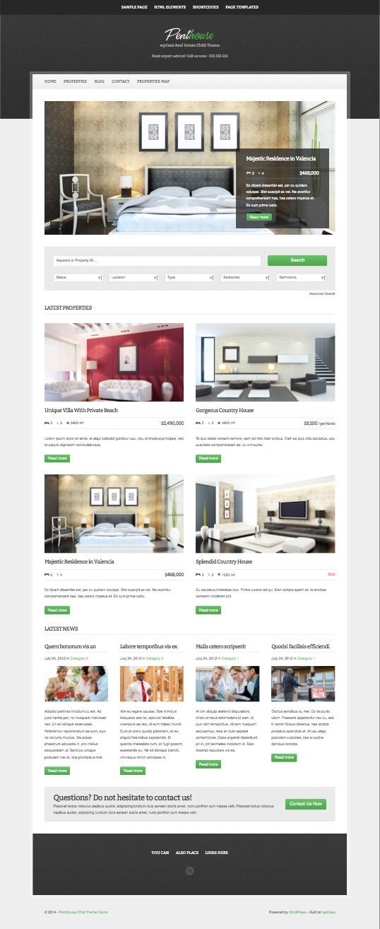 Penthouse – WordPress Real Estate Child Theme