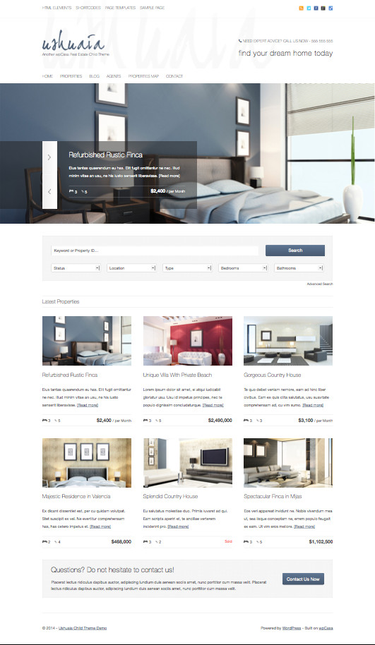 Ushuaia Minimal Real Estate WordPress Theme