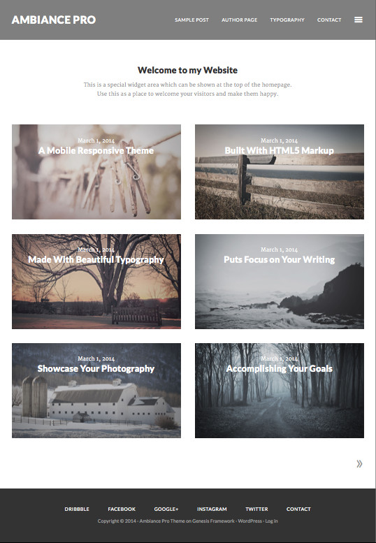 Ambiance Pro WordPress Showcase Portfolio Works Theme