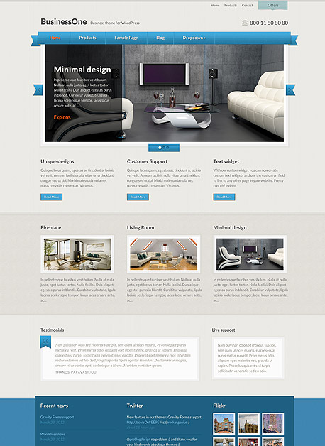 BusinessOne WP Clean Corporate Theme