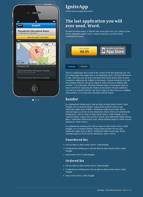 IgniteApp WordPress Mobile App Showcase Theme