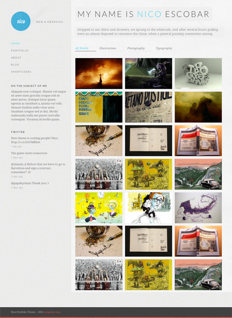 Nico Personal Filterable Portfolio Theme