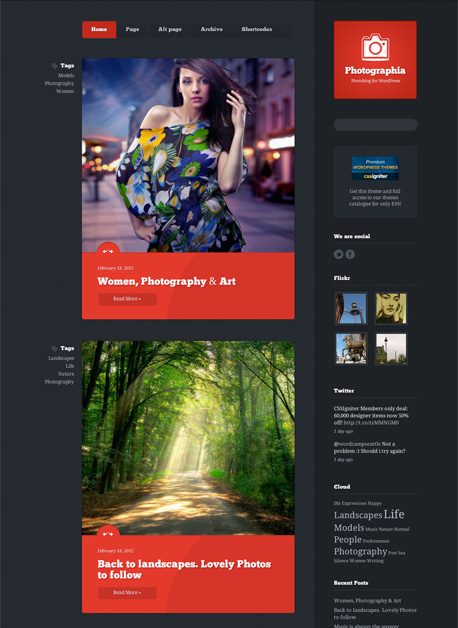 Photographia WordPress Photo Blog Theme