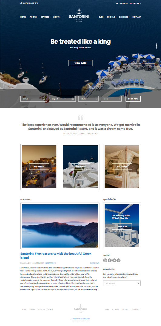 Santorini Resort WordPress Reservation Theme