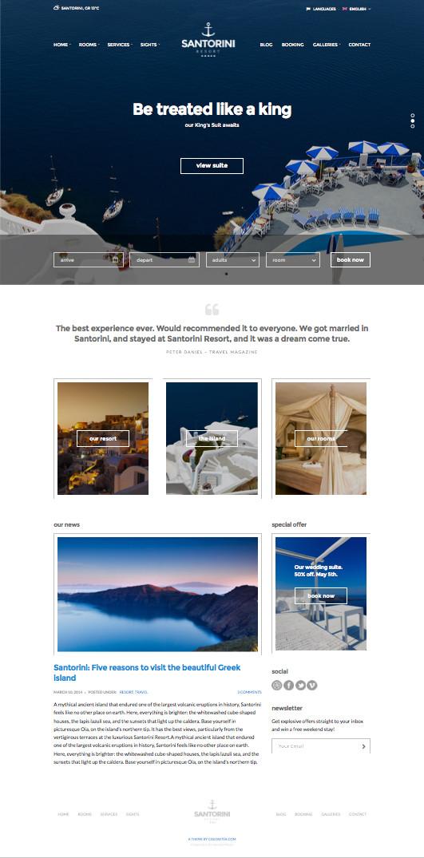 Santorini Resort WordPress Reservation Theme