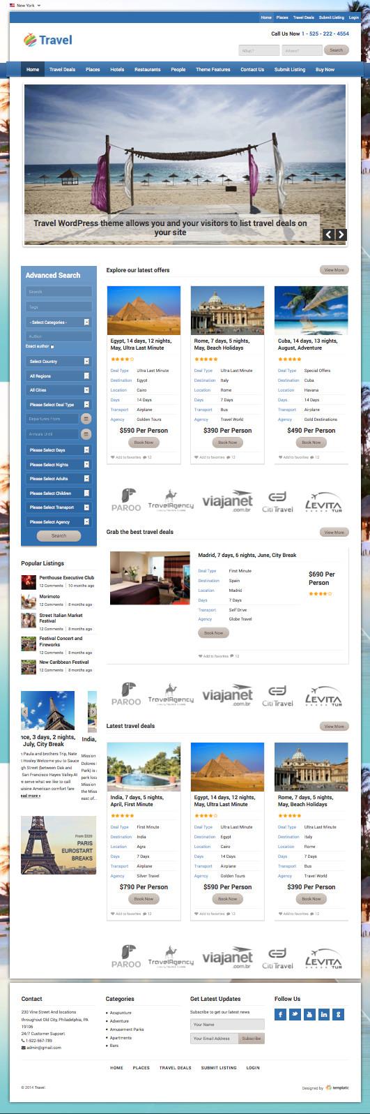 Travel Responsive WordPress Deals & Review Theme