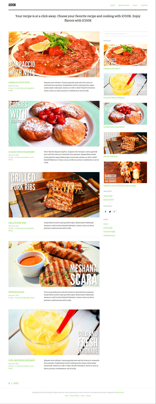 iCook WordPress Food Cooking Theme