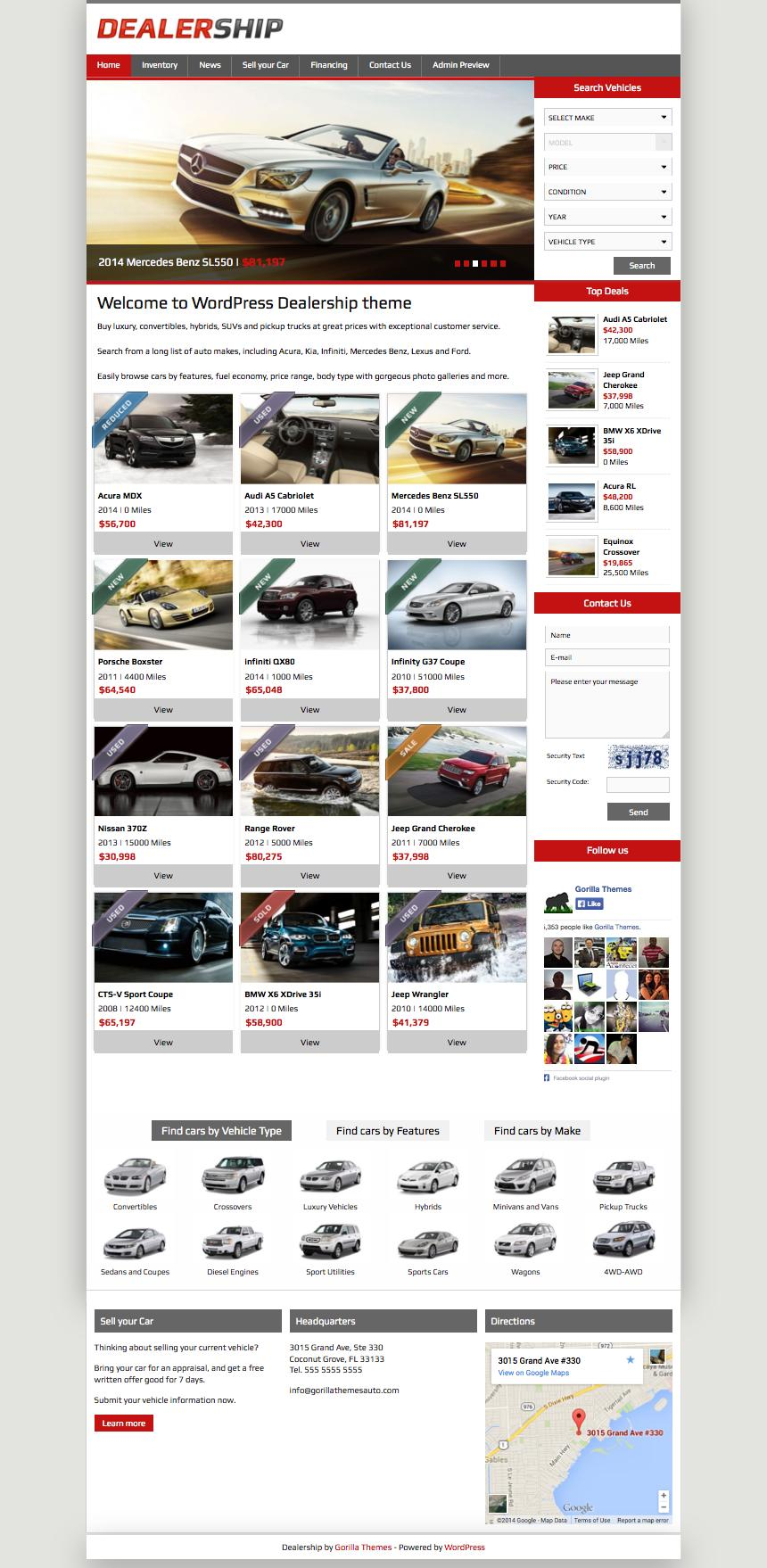 Dealership WordPress Vehicles Listing Theme
