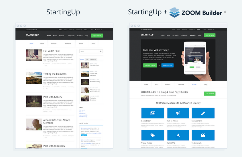 StartingUp WordPress 10 Pre-Built Layouts Theme
