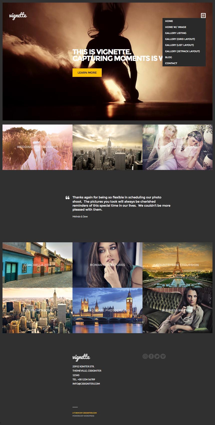 Vignette WordPress Models Photography Theme