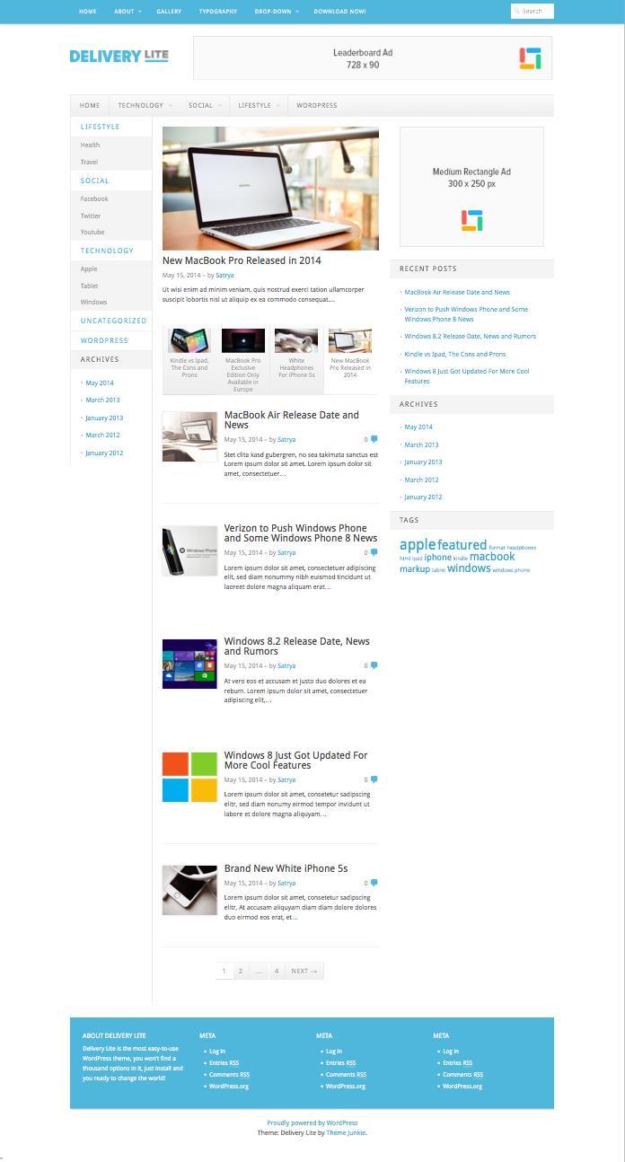 Delivery Lite Responsive Free WP Magazine Theme