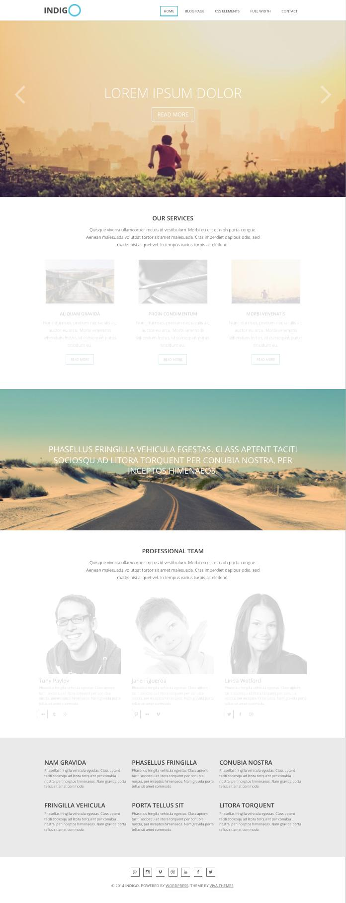 Indigo WordPress Parallax Effect Theme