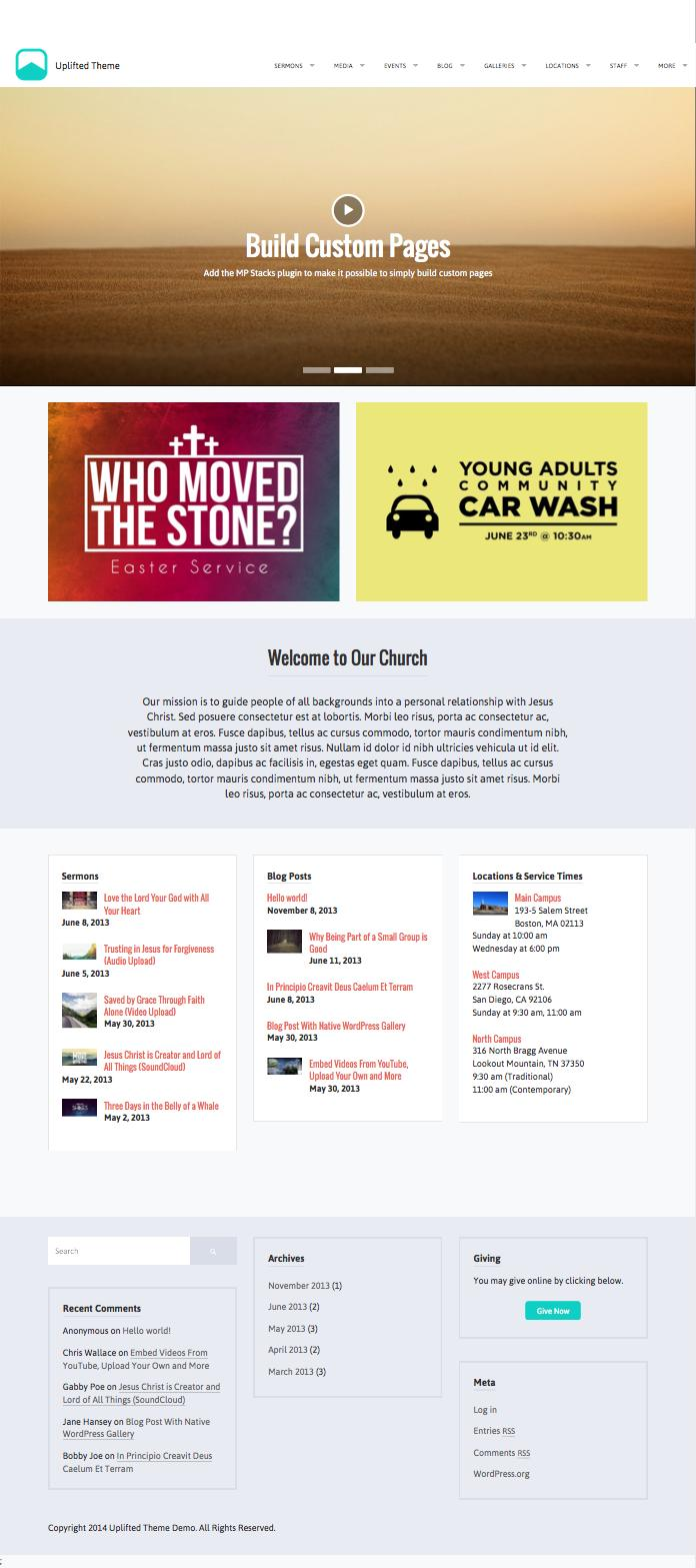 Uplifted WordPress Church Theme