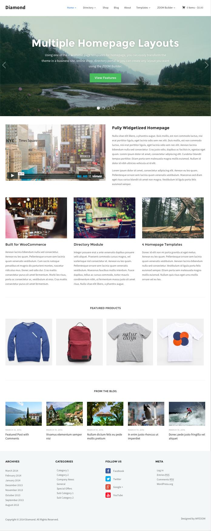 Diamond WordPress Theme for Business Owners
