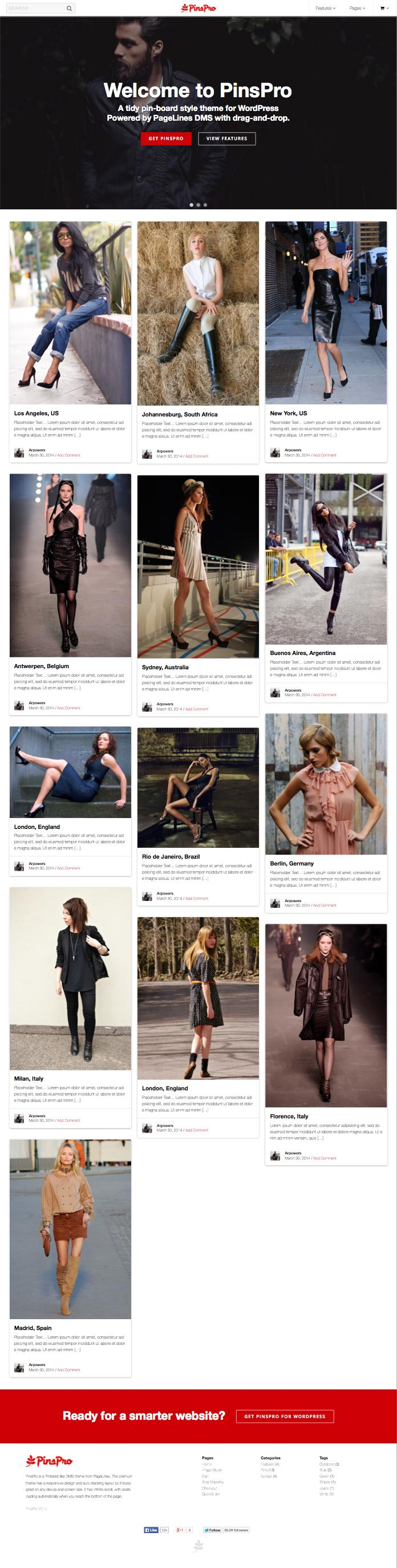 PinsPro WordPress Pinterest.com Theme