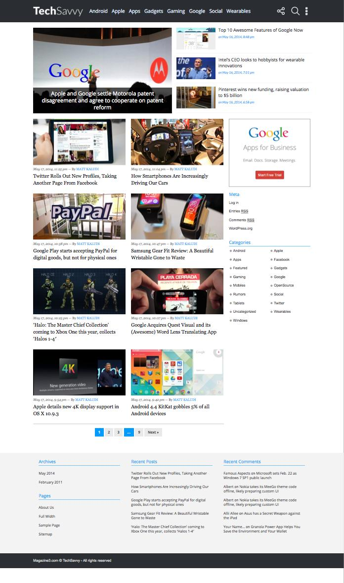 TechSavvy WordPress Tech & Gadget Blog Theme