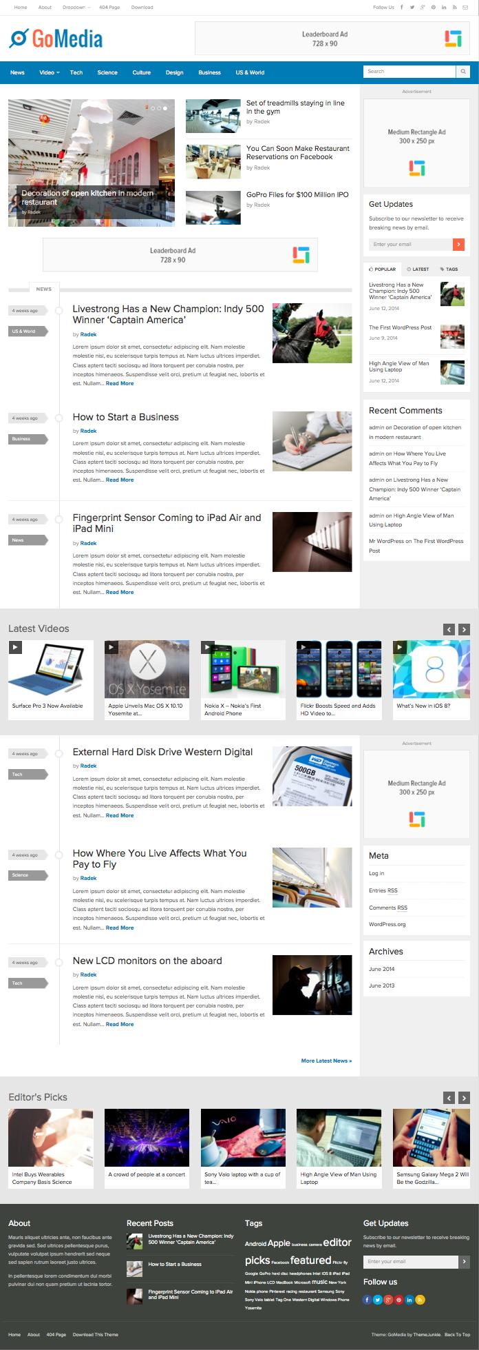 GoMedia WordPress Tech News Style Theme