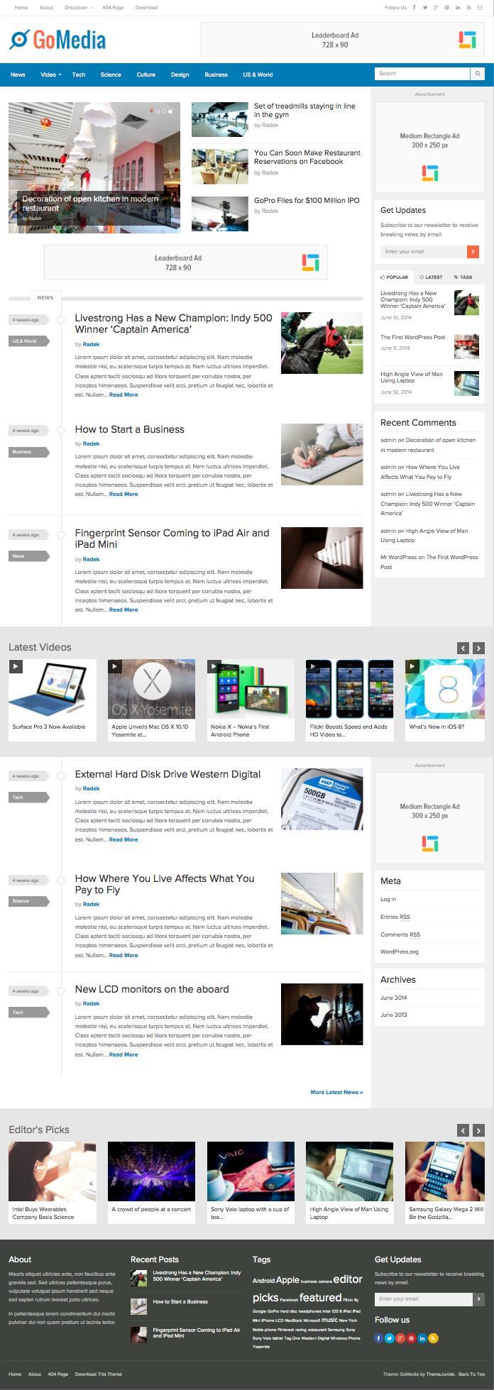 GoMedia WordPress Tech News Style Theme