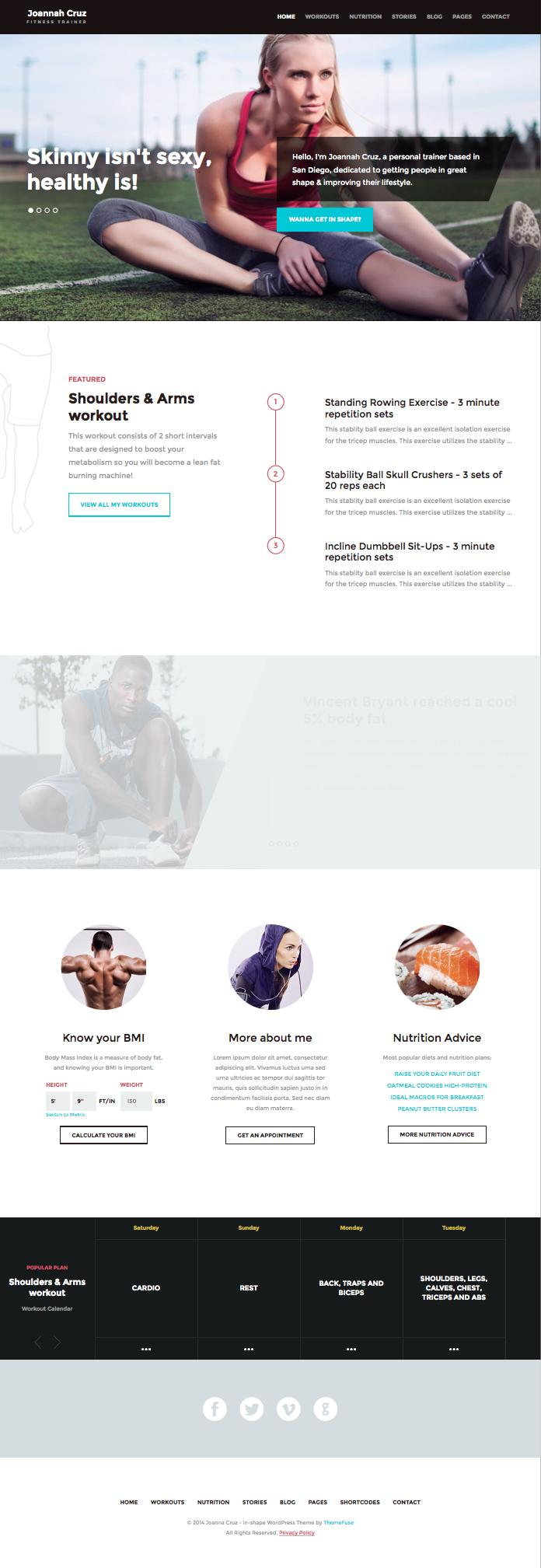 In Shape WordPress Personal Trainers Theme